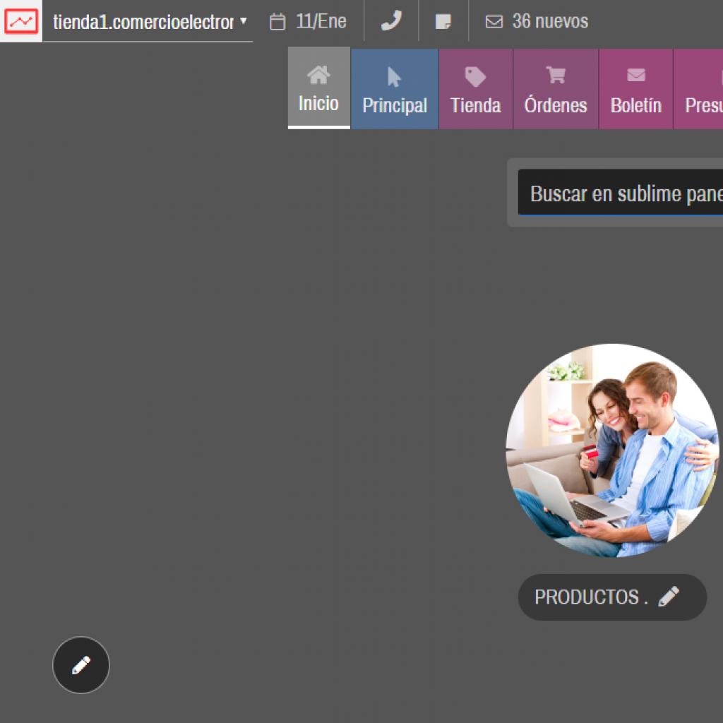Ejemplo del software orientado a tienda online de productos.