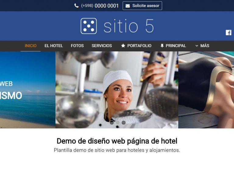 Ejemplo de diseño para armado de página web de hotel alojamiento. - HOTEL 5 . Diseño sitio web institucional